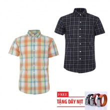 Bộ 2 áo sơ mi ngắn tay sọc caro thời trang tặng kèm 1 dây nịt SMC2676