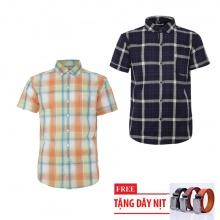 Bộ 2 áo sơ mi ngắn tay sọc caro thời trang tặng kèm 1 dây nịt SMC2677