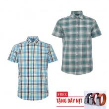 Bộ 2 áo sơ mi ngắn tay sọc caro thời trang tặng kèm 1 dây nịt SMC2680