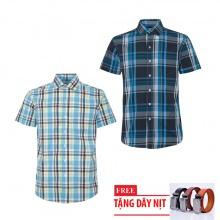 Bộ 2 áo sơ mi ngắn tay sọc caro thời trang tặng kèm 1 dây nịt SMC2681