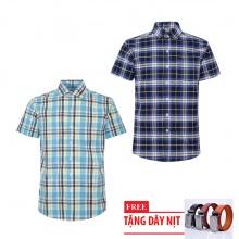 Bộ 2 áo sơ mi ngắn tay sọc caro thời trang tặng kèm 1 dây nịt SMC2683