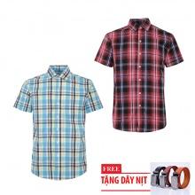 Bộ 2 áo sơ mi ngắn tay sọc caro thời trang tặng kèm 1 dây nịt SMC2686