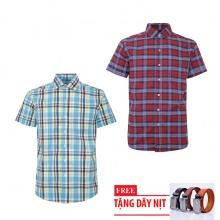Bộ 2 áo sơ mi ngắn tay sọc caro thời trang tặng kèm 1 dây nịt SMC2687