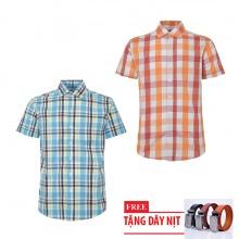 Bộ 2 áo sơ mi ngắn tay sọc caro thời trang tặng kèm 1 dây nịt SMC2689