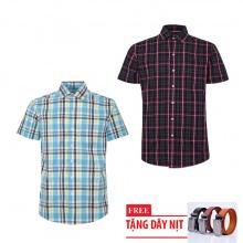 Bộ 2 áo sơ mi ngắn tay sọc caro thời trang tặng kèm 1 dây nịt SMC2690