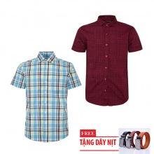 Bộ 2 áo sơ mi ngắn tay sọc caro thời trang tặng kèm 1 dây nịt SMC2691