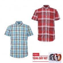 Bộ 2 áo sơ mi ngắn tay sọc caro thời trang tặng kèm 1 dây nịt SMC2693