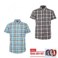 Bộ 2 áo sơ mi ngắn tay sọc caro thời trang tặng kèm 1 dây nịt SMC2694