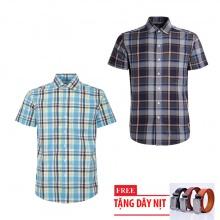 Bộ 2 áo sơ mi ngắn tay sọc caro thời trang tặng kèm 1 dây nịt SMC2695