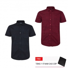 Combo 2 áo sơ mi nam sọc caro Model Fashion cao cấp MSMI3113 (Tặng kèm ví nam)