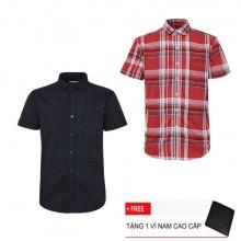 Combo 2 áo sơ mi nam sọc caro Model Fashion cao cấp MSMI3115 (Tặng kèm ví nam)