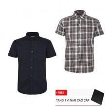Combo 2 áo sơ mi nam sọc caro Model Fashion cao cấp MSMI3116 (Tặng kèm ví nam)