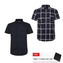 Combo 2 áo sơ mi nam sọc caro Model Fashion cao cấp MSMI3110 (Tặng kèm ví nam)