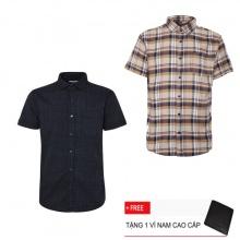 Combo 2 áo sơ mi nam sọc caro Model Fashion cao cấp MSMI3111 (Tặng kèm ví nam)