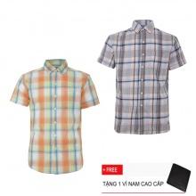 Combo 2 áo sơ mi nam sọc caro Model Fashion cao cấp MSMI3102 (Tặng kèm ví nam)