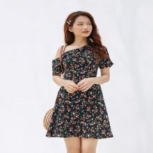 Đầm hoa nhí lệch vai Kimi - AD190095
