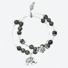 Vòng chuỗi hạt đeo tay 2 line nữ đá thạch anh tóc xanh phối charm voi bạc mệnh hỏa, mộc - Ngọc Quý Gemstones