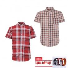 Bộ 2 áo sơ mi ngắn tay sọc caro thời trang tặng kèm 1 dây nịt SMC2736