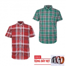 Bộ 2 áo sơ mi ngắn tay sọc caro thời trang tặng kèm 1 dây nịt SMC2737