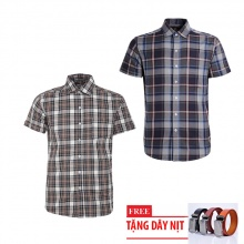 Bộ 2 áo sơ mi ngắn tay sọc caro thời trang tặng kèm 1 dây nịt SMC2738