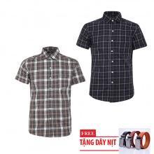 Bộ 2 áo sơ mi ngắn tay sọc caro thời trang tặng kèm 1 dây nịt SMC2741