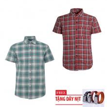 Bộ 2 áo sơ mi ngắn tay sọc caro thời trang tặng kèm 1 dây nịt SMC2743