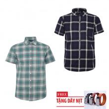 Bộ 2 áo sơ mi ngắn tay sọc caro thời trang tặng kèm 1 dây nịt SMC2745
