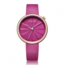 Đồng hồ nữ JA-1106C Julius Hàn Quốc dây da (hồng đậm)