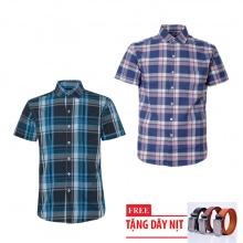 Bộ 2 áo sơ mi ngắn tay sọc caro thời trang tặng kèm 1 dây nịt SMC2750