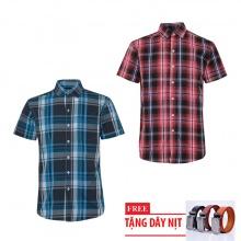 Bộ 2 áo sơ mi ngắn tay sọc caro thời trang tặng kèm 1 dây nịt SMC2754