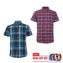 Bộ 2 áo sơ mi ngắn tay sọc caro thời trang tặng kèm 1 dây nịt SMC2755