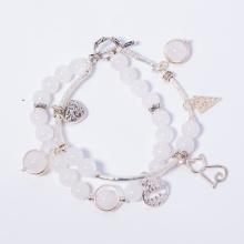Vòng chuỗi hạt đeo tay 2 line đá thạch anh ưu linh trắng phối charm trái tim mệnh thủy, kim - Ngọc Quý Gemstones