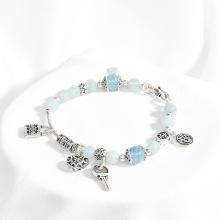 Vòng tay phong thủy nữ đá hải lam ngọc charm trái tim 8mm mệnh thủy, mộc - Ngọc Quý Gemstones
