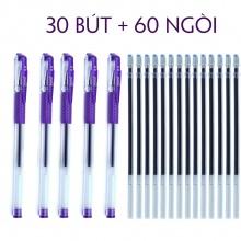 Combo 30 bút mực viết nước gel + 60 ruột ngòi viết màu tím học sinh tiểu học