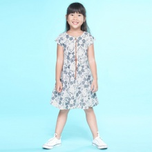 UKID237 - đầm bé gái (xám họa tiết)