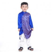 UKID233 - bộ áo dài bé trai (xanh dương họa tiết)