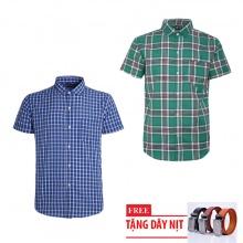 Bộ 2 áo sơ mi ngắn tay sọc caro thời trang tặng kèm 1 dây nịt SMC2830