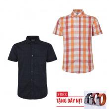 Bộ 2 áo sơ mi ngắn tay sọc caro thời trang tặng kèm 1 dây nịt SMC2834