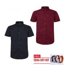 Bộ 2 áo sơ mi ngắn tay sọc caro thời trang tặng kèm 1 dây nịt SMC2836