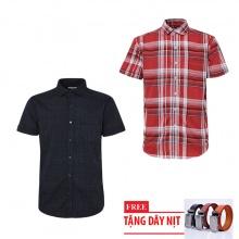 Bộ 2 áo sơ mi ngắn tay sọc caro thời trang tặng kèm 1 dây nịt SMC2838