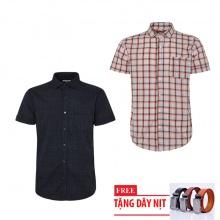Bộ 2 áo sơ mi ngắn tay sọc caro thời trang tặng kèm 1 dây nịt SMC2847