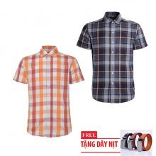 Bộ 2 áo sơ mi ngắn tay sọc caro thời trang tặng kèm 1 dây nịt SMC2903
