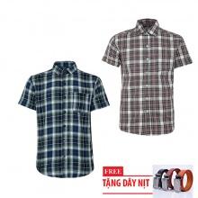 Bộ 2 áo sơ mi ngắn tay sọc caro thời trang tặng kèm 1 dây nịt SMC2907