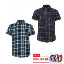 Bộ 2 áo sơ mi ngắn tay sọc caro thời trang tặng kèm 1 dây nịt SMC2912