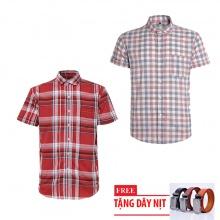 Bộ 2 áo sơ mi ngắn tay sọc caro thời trang tặng kèm 1 dây nịt SMC2920