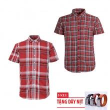 Bộ 2 áo sơ mi ngắn tay sọc caro thời trang tặng kèm 1 dây nịt SMC2921