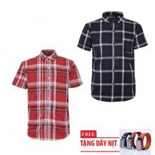 Bộ 2 áo sơ mi ngắn tay sọc caro thời trang tặng kèm 1 dây nịt SMC2923