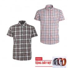 Bộ 2 áo sơ mi ngắn tay sọc caro thời trang tặng kèm 1 dây nịt SMC2929