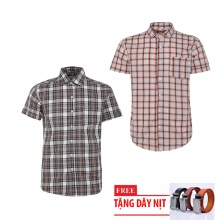 Bộ 2 áo sơ mi ngắn tay sọc caro thời trang tặng kèm 1 dây nịt SMC2935