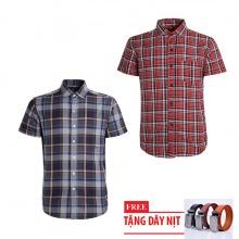 Bộ 2 áo sơ mi ngắn tay sọc caro thời trang tặng kèm 1 dây nịt SMC2938